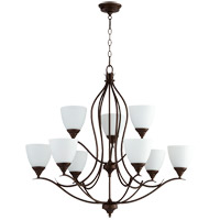 Quorum 614-9-86 Flora 9 Light 29 inch Oiled Bronze Chandelier Ceiling Light