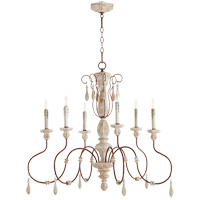Quorum 6152-6-156 La Maison 6 Light 36 inch Manchester Grey with Rust Accents Chandelier Ceiling Light