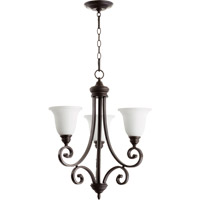 Quorum 6154-3-186 Bryant 3 Light 21 inch Oiled Bronze Chandelier Ceiling Light in Satin Opal