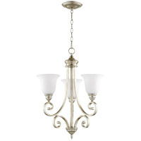 Quorum 6154-3-60 Bryant 21 inch Aged Silver Leaf Chandelier Ceiling Light in Satin Opal, Satin Opal