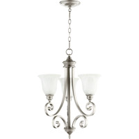 Quorum 6154-3-64 Bryant 3 Light 21 inch Classic Nickel Chandelier Ceiling Light in Faux Alabaster