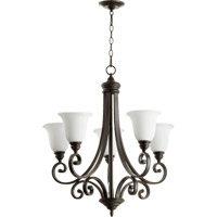 Quorum 6154-5-186 Bryant 5 Light 28 inch Oiled Bronze Chandelier Ceiling Light in Satin Opal