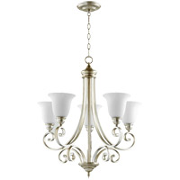 Bryant 28 inch Aged Silver Leaf Chandelier Ceiling Light in Satin Opal, Satin Opal