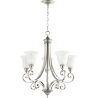 Quorum 6154-5-64 Bryant 5 Light 28 inch Classic Nickel Chandelier Ceiling Light in Faux Alabaster