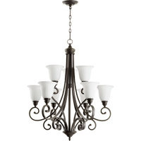 Quorum 6154-9-186 Bryant 9 Light 31 inch Oiled Bronze Chandelier Ceiling Light in Satin Opal