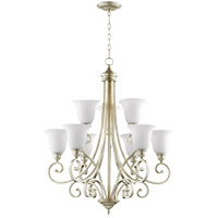 Quorum 6154-9-60 Bryant 31 inch Aged Silver Leaf Chandelier Ceiling Light in Satin Opal, Satin Opal