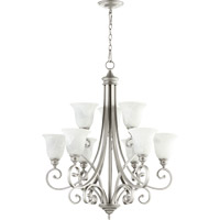 Quorum 6154-9-64 Bryant 9 Light 31 inch Classic Nickel Chandelier Ceiling Light in Faux Alabaster