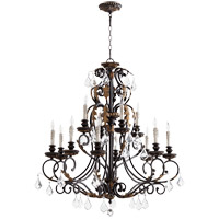 Quorum 6157-12-44 Rio Salado 34 inch Toasted Sienna With Mystic Silver Chandelier Ceiling Light