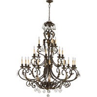 Quorum 6157-21-44 Rio Salado 21 Light 51 inch Toasted Sienna With Mystic Silver Chandelier Ceiling Light