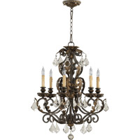 Quorum 6157-6-44 Rio Salado 6 Light 24 inch Toasted Sienna With Mystic Silver Chandelier Ceiling Light