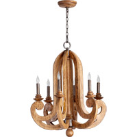 Quorum International Ashford 6 Light Chandelier in Provincial with Rustic Iron Accents 6163-6-23