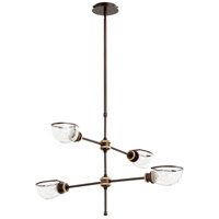 Quorum 617-4-8086 Menlo 4 Light 34 inch Aged Brass and Oiled Bronze Chandelier Ceiling Light