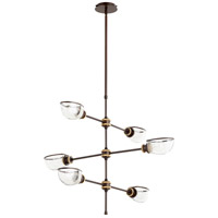 Quorum 617-6-8086 Menlo 6 Light 35 inch Aged Brass and Oiled Bronze Chandelier Ceiling Light