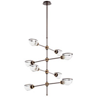 Quorum 617-8-8086 Menlo 8 Light 37 inch Aged Brass and Oiled Bronze Chandelier Ceiling Light