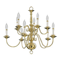 Signature 10 Light 25 inch Polished Brass Chandelier Ceiling Light