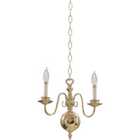 Quorum International Signature 2 Light Chandelier in Polished Brass 6171-2-2