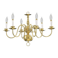 Signature 6 Light 25 inch Polished Brass Chandelier Ceiling Light
