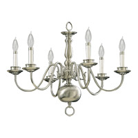 Quorum 6171-6-65 Signature 6 Light 24 inch Satin Nickel Chandelier Ceiling Light