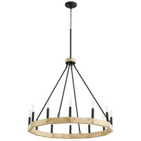 Quorum 6189-12-69 Alpine 12 Light 30 inch Noir with Driftwood Chandelier Ceiling Light