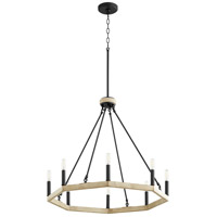 Quorum 6189-8-69 Alpine 8 Light 25 inch Noir with Driftwood Chandelier Ceiling Light