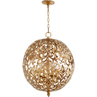 Quorum 6192-4-30 Le Monde 4 Light 20 inch Vintage Gold Leaf Chandelier Ceiling Light