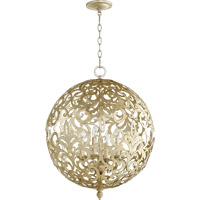 Quorum Le Monde 4 Light Chandelier in Aged Silver Leaf 6192-4-60