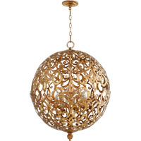 Quorum 6192-6-30 Le Monde 6 Light 24 inch Vintage Gold Leaf Chandelier Ceiling Light