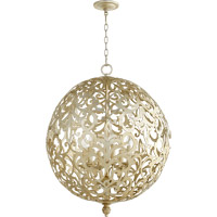 Quorum Le Monde 6 Light Chandelier in Aged Silver Leaf 6192-6-60