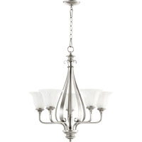 Quorum 6194-5-64 Randolph 5 Light 24 inch Classic Nickel Chandelier Ceiling Light in Faux Alabaster