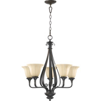 Quorum 6194-5-86 Randolph 5 Light 24 inch Oiled Bronze Chandelier Ceiling Light in Amber Linen