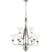 Quorum 6194-9-64 Randolph 9 Light 28 inch Classic Nickel Chandelier Ceiling Light in Faux Alabaster
