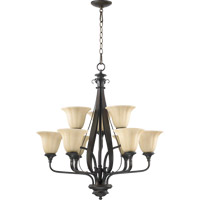 Quorum 6194-9-86 Randolph 9 Light 28 inch Oiled Bronze Chandelier Ceiling Light in Amber Linen