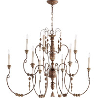 Quorum 6206-9-39 Salento 9 Light 41 inch Vintage Copper Chandelier Ceiling Light, Comes with 8 feet of Chain