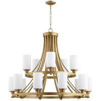 Quorum 6207-15-80 Lancaster 15 Light 38 inch Aged Brass Chandelier Ceiling Light