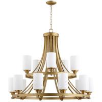 Quorum 6207-15-80 Lancaster 15 Light 38 inch Aged Brass Chandelier Ceiling Light