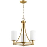 Quorum 6207-3-80 Lancaster 3 Light 18 inch Aged Brass Chandelier Ceiling Light