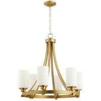 Quorum 6207-6-80 Lancaster 6 Light 25 inch Aged Brass Chandelier Ceiling Light