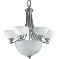 Quorum International Hemisphere 6 Light Chandelier in Satin Nickel 621-6-65