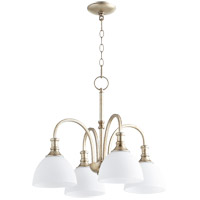Quorum 6211-4-60 Richmond 4 Light 23 inch Aged Silver Leaf Chandelier Ceiling Light in Satin Opal