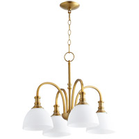 Quorum 6211-4-80 Richmond 4 Light 23 inch Aged Brass Mini Chandelier Ceiling Light in Satin Opal