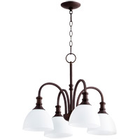Quorum 6211-4-86 Richmond 4 Light 23 inch Oiled Bronze Mini Chandelier Ceiling Light in Satin Opal