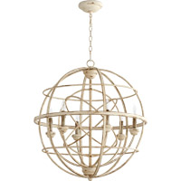 Quorum 6216-6-70 Salento 6 Light 27 inch Persian White With Mystic Silver Chandelier Ceiling Light
