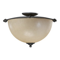 Quorum International Hemisphere 3 Light Semi-Flush Mount in Old World 622-17-95