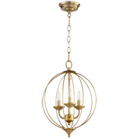 Quorum 623-3-80 Flora 3 Light 13 inch Aged Brass Chandelier Ceiling Light