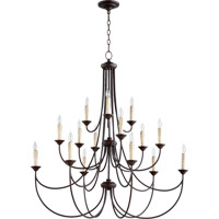 Quorum International Brooks 15 Light Chandelier in Oiled Bronze 6250-15-86