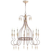La Maison 8 Light 35 inch Manchester Grey with Rust Accents Chandelier Ceiling Light