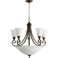 Quorum International Bryant 9 Light Bowl Chandelier in Oiled Bronze with Satin Opal Glass 6254-9-186