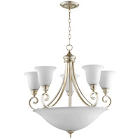 Quorum 6254-9-60 Bryant 29 inch Aged Silver Leaf Chandelier Ceiling Light Satin Opal
