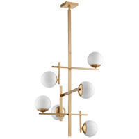 Quorum 628-6-80 Atom 25 inch Aged Brass Chandelier Ceiling Light, Opal