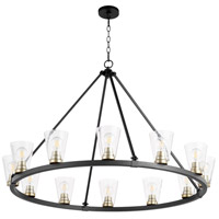 Quorum 63-12-6980 Paxton 12 Light 46 inch Noir with Aged Brass Chandelier Ceiling Light
